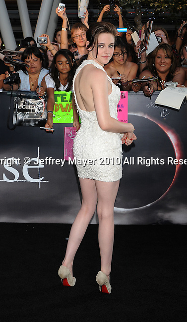 "LOS ANGELES, CA. - June 24: Kristen Stewart arrives to the premiere of ""The Twilight Saga: Eclipse"" during the 2010 Los Angeles Film Festival at Nokia Theatre L.A. Live on June 24, 2010 in Los Angeles, California."