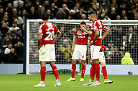 14th January 2020; Tottenham Hotspur Stadium, London, England; English FA Cup Football, Tottenham Hotspur versus Middlesbrough; Dejected Middlesbrough players as Erik Lamela of Tottenham Hotspur scores for 2-0 in the 16th minute - Strictly Editorial Use Only. No use with unauthorized audio, video, data, fixture lists, club/league logos or 'live' services. Online in-match use limited to 120 images, no video emulation. No use in betting, games or single club/league/player publications