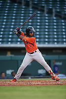AZL Giants Orange Andrew Caraballo (1) at bat during an Arizona League game against the AZL Cubs 1 on July 10, 2019 at Sloan Park in Mesa, Arizona. The AZL Giants Orange defeated the AZL Cubs 1 13-8. (Zachary Lucy/Four Seam Images)