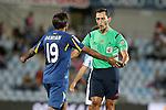 Spanish referee Sanchez Martinez have words with Getafe's Damian Suarez during La Liga match.September 18,2015. (ALTERPHOTOS/Acero)