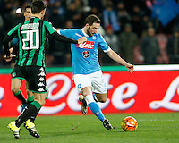 Napoli's Gonzalo Higuain controls the ball during the  italian serie a soccer match,between SSC Napoli and Sassuolo    at  the San  Paolo   stadium in Naples  Italy ,Napoli  wins  3-1