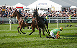 LIVERPOOL - APRIL 14: After falling, #7 Alpha des Obeaux continues riderless at the Randox Health Grand National Steeplechase at Aintree Racecourse in Liverpool, UK (Photo by Sophie Shore/Eclipse Sportswire/Getty Images)
