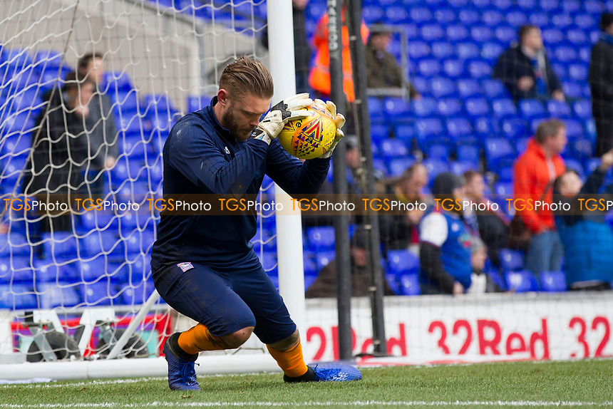 Dean Gerken of Ipswich Town shows safe hands in warm up during Ipswich Town vs Rotherham United, Sky Bet EFL Championship Football at Portman Road on 12th January 2019