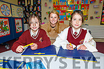 Twins Tegan and Edel Beer with their teacher Ciara Culloty enjoying Maths Week 2019 in the Holy Family NS on Thursday.
