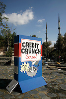 Credit Crunch Cereal exhibit at the City and Art exhibition in Tophane, Istanbul, Turkey