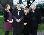 REPRO FREE<br /> 21/01/2015<br /> James Walsh, Birdhill, Co. Tipperary, Masters in Law pictured with his wife Kathleen and Parents Seamus and Joan Walsh, Old Cork Road, Limerick as the University of Limerick continues three days of Winter conferring ceremonies which will see 1831 students conferring, including 74 PhDs. <br /> UL President, Professor Don Barry highlighted the increasing growth in demand for UL graduates by employers and the institution&rsquo;s position as Sunday Times University of the Year. <br /> Picture: Don Moloney / Press 22