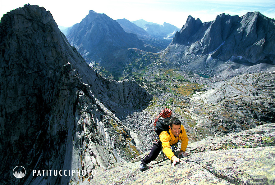Climber soloing the Pingora - Wolf's Head Traverse. Wind River Range, WY