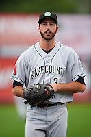 Kane County Cougars pitcher Nick Baker (36) during a game against the Cedar Rapids Kernels on August 18, 2015 at Perfect Game Field in Cedar Rapids, Iowa.  Kane County defeated Cedar Rapids 1-0.  (Mike Janes/Four Seam Images)