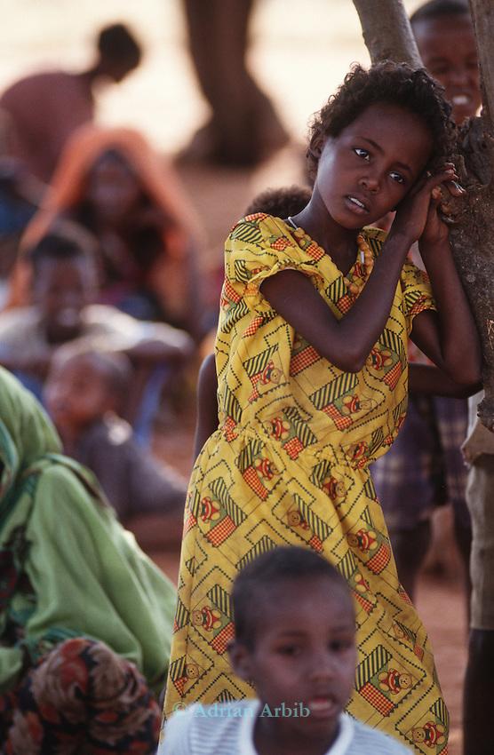 Somali girl at a feeding station, Wajir, Somaliland, Kenya