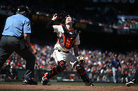 SAN FRANCISCO, CA - MAY 25:  Trevor Brown #14 of the San Francisco Giants chases a foul ball against the San Diego Padres during the game at AT&T Park on Wednesday, May 25, 2016 in San Francisco, California. Photo by Brad Mangin