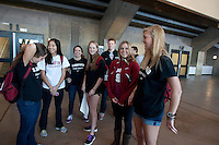 Stanford, CA -- January 28, 2012:Alex McCawley, Kasey Quon, Hope Burke, Tommy Ryan, Anna Boyle and Hannah Thiemann during Buddy Day held  Saturday afternoon as part of Stanford vs. Cal Women's Basketball game at Maples Pavilion at Stanford.<br /> <br /> Stanford defeat Cal 74-71 in overtime.