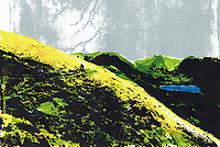 Brightly coloured illustration of cyclists at Brotherswater in the English Lake District