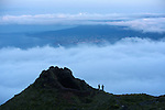 On the way to Mount Pico (2351 m) at dawn. View the coast of Faial island. .Pico  Island..