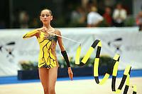 Darya Kushnerova of Ukraine circles ribbon before routine begins at 2006 Portimao World Cup of Rhythmic Gymnastics on September 10, 2006 at Portimao, Portugal.  (Photo by Tom Theobald)