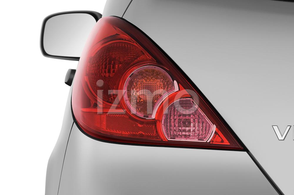 Tail light close up detail view of a 2009 Nissan Versa Hatchback