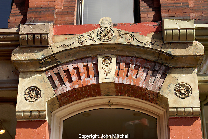 Architectural detail above the doorway of a Victorian building in the city of Saint John, New Brunswick, Canada