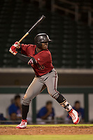 AZL Diamondbacks center fielder Kristian Robinson (10) at bat during an Arizona League game against the AZL Cubs 1 at Sloan Park on June 18, 2018 in Mesa, Arizona. AZL Diamondbacks defeated AZL Cubs 1 7-0. (Zachary Lucy/Four Seam Images)