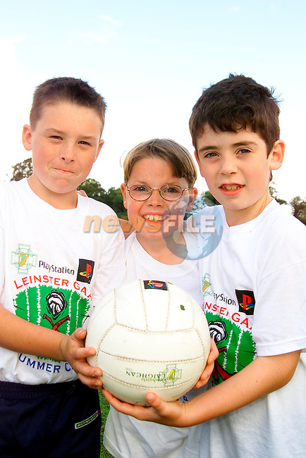 David Beakey, Julianstown, Adam McCann, Stameen and Lorcan Duffy, Bellewstown who took part in the GAA Summer Camp at the Colmcilles GAA pitch..Picture: Paul Mohan/Newsfile