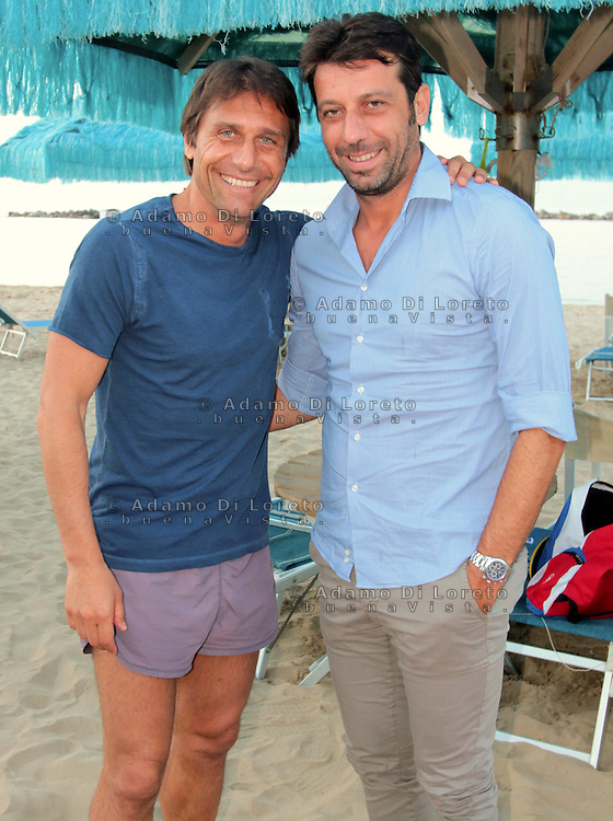Antonio Conte, Trainer of the italian team soccer, and Roberto D'Aversa, trainer of the Lanciano Soccer during his holiday in Pescara, Abruzzo, on July, 2015. Photo: Di Loreto/Lattanzio/BuenaVista*Photo  Trainer of the italian team soccer, during his holiday in Pescara, Abruzzo, on July, 2015. Photo: Di Loreto/Lattanzio/BuenaVista*Photo