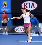 Na Li (CHN) wins the women's title at the Australian Open in Melbourne Australia by beating Dominka Cibulkova (SVK) 7-6, 6-0 on January 25, 2015.
