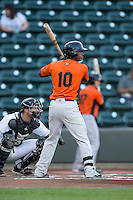 Josh Hart (10) of the Frederick Keys at bat against the Winston-Salem Dash at BB&T Ballpark on May 24, 2016 in Winston-Salem, North Carolina.  The Keys defeated the Dash 7-1.  (Brian Westerholt/Four Seam Images)