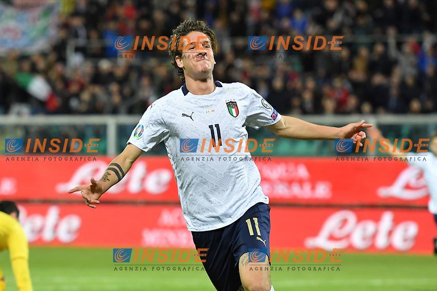 Italy's Nicolo' Zaniolo celebrates after scoring the 2-0 goal <br /> Palermo 18-11-2019 Stadio Renzo Barbera <br /> UEFA European Championship 2020 qualifier group J <br /> Italy - Armenia <br /> Photo Carmelo Imbesi / Insidefoto