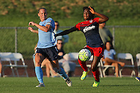 Piscataway, NJ - Saturday July 23, 2016: Christie Rampone, Francisca Ordega during a regular season National Women's Soccer League (NWSL) match between Sky Blue FC and the Washington Spirit at Yurcak Field.