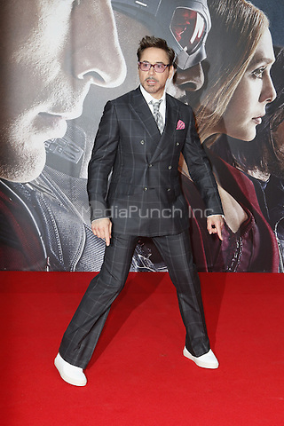Robert Downey Jr. attending the The First Avenger: Civil War premiere held at CineStar, Sony Center, Potsdamer Platz, Berlin, Germany, 21.04.2016. <br /> Photo by Christopher Tamcke/insight media /MediaPunch ***FOR USA ONLY***