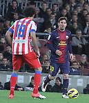 16.12.2012. Barcelona, Spain. La Liga day 16. Picture show Leo Messi in action during game FC Bracelona against Atletico Madrid at Camp Nou