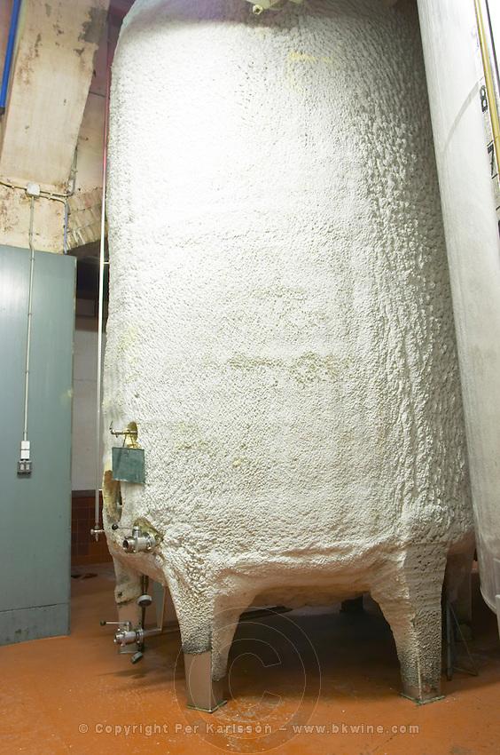 Insulated temperature controlled fermentation tank. Fermentation tanks. Raimat Costers del Segre Catalonia Spain
