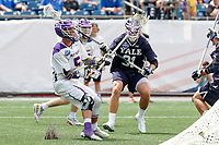 Connor Fields (#5) on attack as Yale defeats UAlbany 20-11 in the NCAAA semifinal game at Gillette Stadium, May 26.