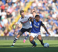 Preston North End's Paul Gallagher in action with Birmingham City's David Davis<br /> <br /> Photographer Mick Walker/CameraSport<br /> <br /> The EFL Sky Bet Championship - Birmingham City v Preston North End - Saturday 21st September 2019 - St Andrew's - Birmingham<br /> <br /> World Copyright © 2019 CameraSport. All rights reserved. 43 Linden Ave. Countesthorpe. Leicester. England. LE8 5PG - Tel: +44 (0) 116 277 4147 - admin@camerasport.com - www.camerasport.com
