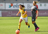 20190813 - DENDERLEEUW, BELGIUM : PAOK's Thomai Vardali pictured with LSK's Ingrid Moe Wolde (left) during the female soccer game between the Greek PAOK Thessaloniki Ladies FC and the Norwegian LSK Kvinner Fotballklubb Ladies , the third and final game for both teams in the Uefa Womens Champions League Qualifying round in group 8 , Tuesday 13 th August 2019 at the Van Roy Stadium in Denderleeuw  , Belgium  .  PHOTO SPORTPIX.BE for NTB | DAVID CATRY