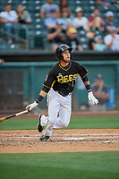 Erick Salcedo (1) of the Salt Lake Bees bats against the Reno Aces at Smith's Ballpark on June 27, 2019 in Salt Lake City, Utah. The Aces defeated the Bees 10-6. (Stephen Smith/Four Seam Images)