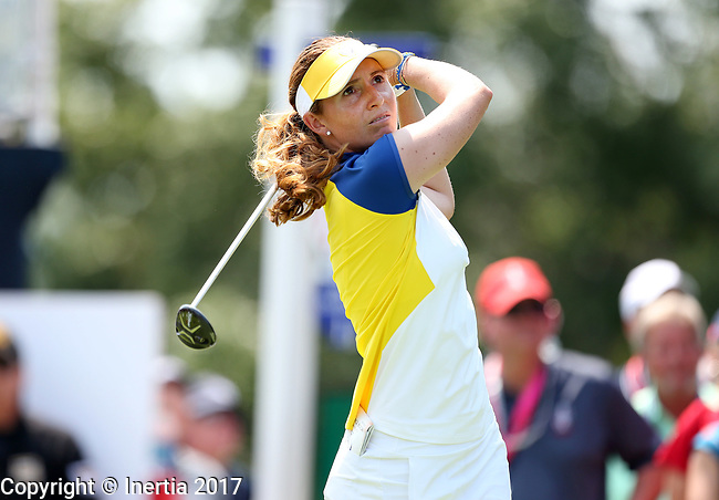 DES MOINES, IA - AUGUST 18: Europe's Florentine Parker hits her tee shot on the 1st hole during her afternoon match at the 2017 Solheim Cup in Des Moines, IA. (Photo by Dave Eggen/Inertia)