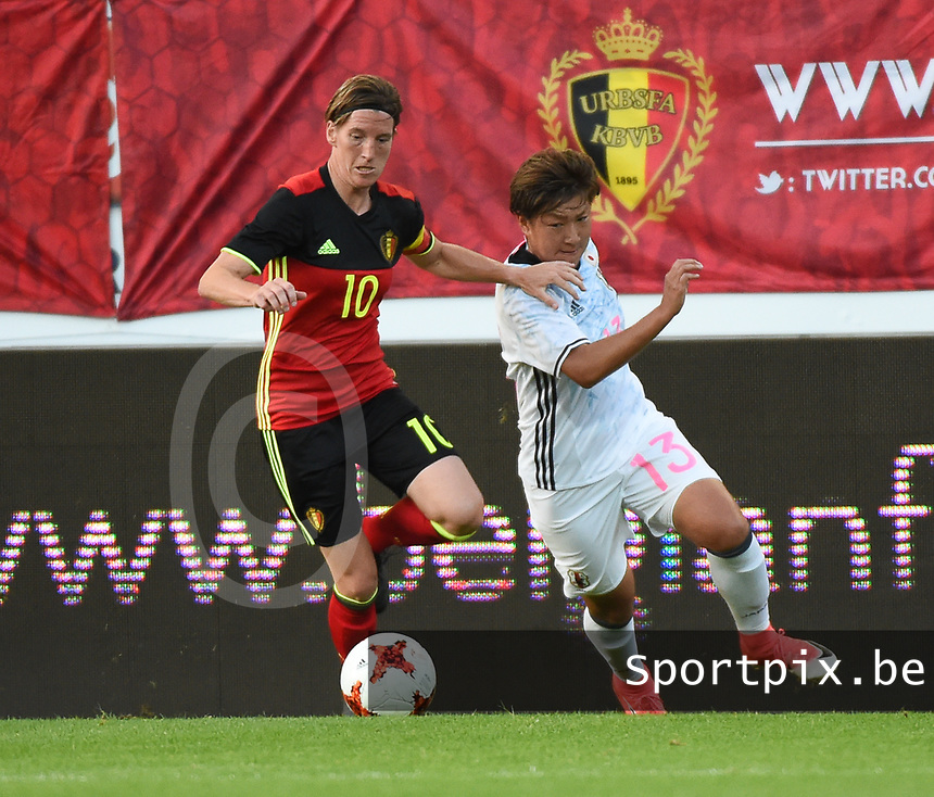 20170613 - LEUVEN ,  BELGIUM : Belgian Aline Zeler (L) and Japanese Yuika Sugasawa (R) pictured during the female soccer game between the Belgian Red Flames and Japan , a friendly game before the European Championship in The Netherlands 2017  , Tuesday 13 th Juin 2017 at Stadion Den Dreef  in Leuven , Belgium. PHOTO SPORTPIX.BE | DIRK VUYLSTEKE