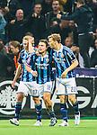 Stockholm 2015-05-25 Fotboll Allsvenskan Djurg&aring;rdens IF - AIK :  <br /> Djurg&aring;rdens Kerim Mrabti firar sitt 2-2 m&aring;l med Tim Bj&ouml;rkstr&ouml;m och Jesper Karlstr&ouml;m  under matchen mellan Djurg&aring;rdens IF och AIK <br /> (Foto: Kenta J&ouml;nsson) Nyckelord:  Fotboll Allsvenskan Djurg&aring;rden DIF Tele2 Arena AIK Gnaget jubel gl&auml;dje lycka glad happy
