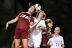 04 October 2012: Boston College's Zoe Lombard (20) and UNC's Kelly McFarlane (11). The University of North Carolina Tar Heels defeated the Boston College Eagles 1-0 at Fetzer Field in Chapel Hill, North Carolina in a 2012 NCAA Division I Women's Soccer game.