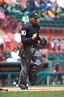 Umpire Jeremie Rehak during a game between the Richmond Flying Squirrels and Erie Seawolves on May 20, 2015 at Jerry Uht Park in Erie, Pennsylvania.  Erie defeated Richmond 5-2.  (Mike Janes/Four Seam Images)