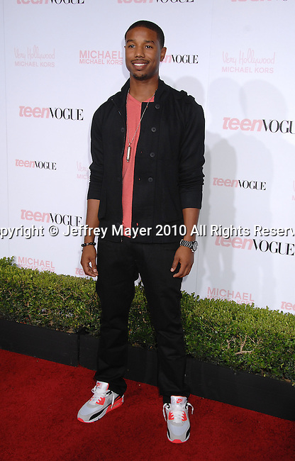 HOLLYWOOD, CA. - October 01: Michael B. Jordan arrives at the 8th Annual Teen Vogue Young Hollywood Party at Paramount Studios on October 1, 2010 in Hollywood, California.