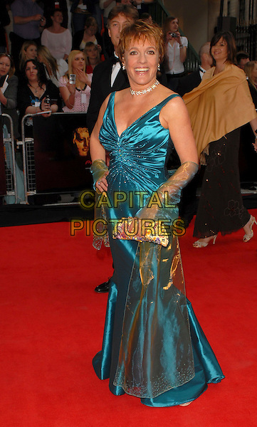 ESTHER RANTZEN.Arrivals at the Pioneer British Academy Television Awards 2006 at the Grosvenor House Hotel, London, UK..May 7th, 2006 .Ref: CAN.BAFTA TV.full length satin blue dress wrap clutch purse.www.capitalpictures.com.sales@capitalpictures.com.©Capital Pictures