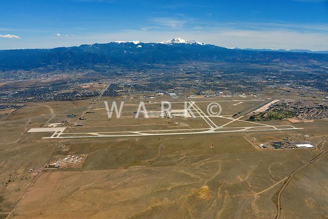 Colorado Springs airport aerial looking west