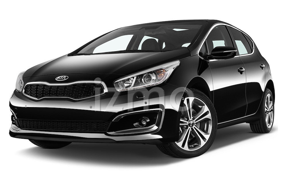 Stock pictures of low aggressive front three quarter view of 2016 KIA Ceed Sense 5 Door Hatchback Low Aggressive