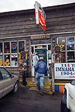 USA, Oregon, Imnaha, Cowboys Todd Nash and Cody Ross head to lunch at the Imnaha Store and Tavern, Northeast Oregon