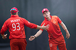 Kyle Christie of HKI United (R) celebrates with his teammate George Munsey (L) after taking the wicket during the Hong Kong T20 Blitz match between HKI United and Galaxy Gladiators Lantau at Tin Kwong Road Recreation Ground on March 10, 2017 in Hong Kong, Hong Kong. Photo by Marcio Rodrigo Machado / Power sport Images
