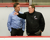 Roger Rönnberg (Sweden - Head Coach), Paul Stewart - Sweden's Under-20 team defeated the Harvard University Crimson 2-1 on Monday, November 1, 2010, at Bright Hockey Center in Cambridge, Massachusetts.