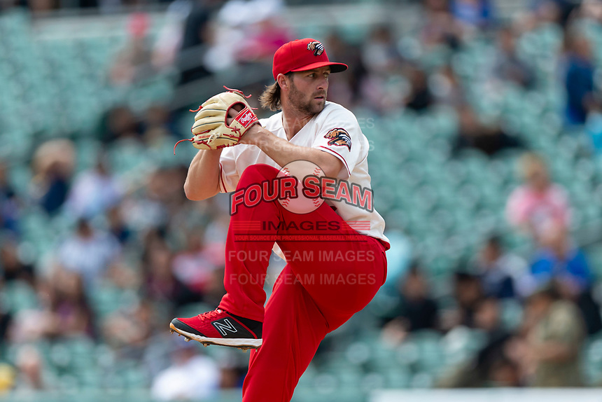 Fresno Grizzlies starting pitcher Brady Dragmire (17) pitching during a game against the Reno Aces at Chukchansi Park on April 8, 2019 in Fresno, California. Fresno defeated Reno 7-6. (Zachary Lucy/Four Seam Images)