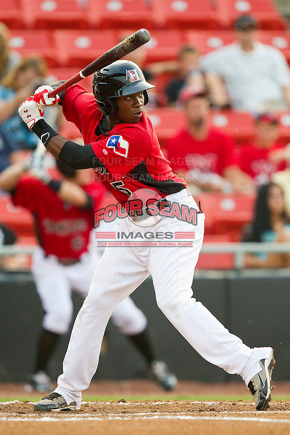Alejandro Selen #5 of the Hickory Crawdads at bat against the Greenville Drive at L.P. Frans Stadium on September 3, 2011 in Hickory, North Carolina.  The Crawdads defeated the Drive 3-0.  (Brian Westerholt / Four Seam Images)