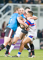 Picture by Allan McKenzie/SWpix.com - 09/02/2018 - Rugby League - Betfred Super League - Wakefield Trinity v Salford Red Devils - The Mobile Rocket Stadium, Wakefield, England - Tinirau Arona is tackled by Josh Jones.