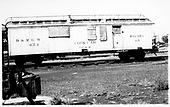 Side view of cook car #053 converted from a sleeper.  Also Rotary OY.<br /> D&amp;RGW    11/1971